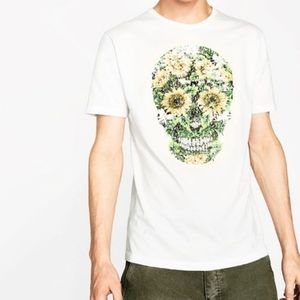 Zara Man Sequin Sunflower Skeleton White Tee